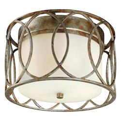 Troy Two Light Silver Gold Drum Shade Flush Mount