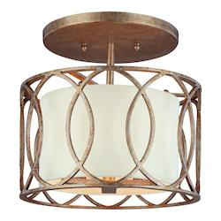 Troy Three Light Silver Gold Drum Shade Semi-Flush Mount