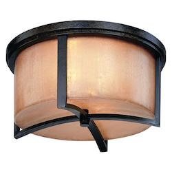 Troy Two Light Antique Bronze Drum Shade Flush Mount