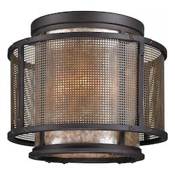 Troy Four Light Graphite And Silver Drum Shade Flush Mount