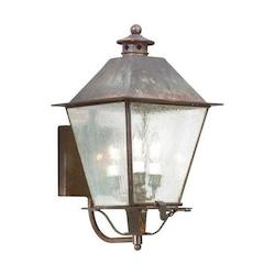 Troy Three Light Charred Iron Wall Lantern