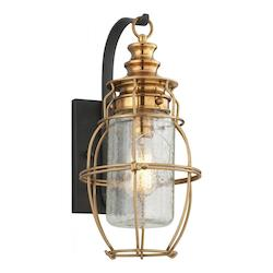 Troy One Light Aged Brass With Forg Wall Lantern