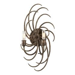 Troy Two Light Revolution Bronze Wall Light