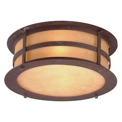 Troy Two Light Natural Bronze Outdoor Flush Mount