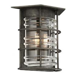 Troy Two Light Aged Pewter Outdoor Wall Light
