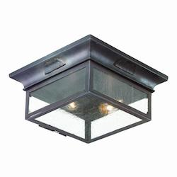 Troy Two Light Old Bronze Outdoor Flush Mount