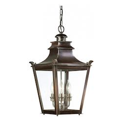 Troy Three Light English Bronze Hanging Lantern