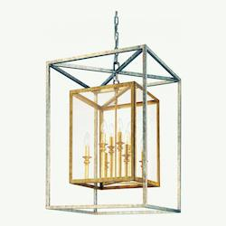 Troy Eight Light Gold Silver Leaf Framed Glass Foyer Hall Fixture