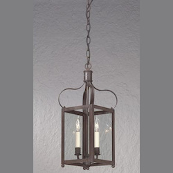 Troy Two Light Charred Iron Framed Glass Foyer Hall Fixture