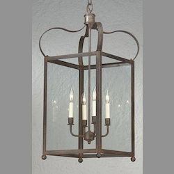 Troy Eight Light Charred Iron Framed Glass Foyer Hall Fixture