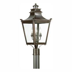 Troy Three Light English Bronze Post Light