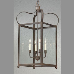 Troy Eight Light Natural Rust Framed Glass Foyer Hall Fixture