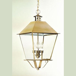 Troy Four Light Charred Iron Hanging Lantern