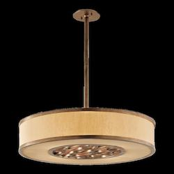 Troy One Light Bronze Leaf Drum Shade Pendant