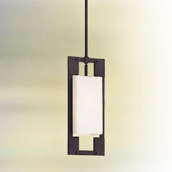 Troy One Light Forged Iron Outdoor Pendant