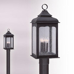 Troy Four Light Colonial Iron Post Light