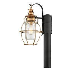 Troy One Light Aged Brass With Forg Post Light