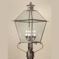 Troy Four Light Nat Antique Brass Post Light