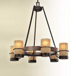 Troy Six Light Bamboo Bronze Candle Chandelier