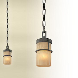 Troy One Light Bamboo Bronze Down Mini Pendant