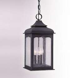 Troy Three Light Colonial Iron Hanging Lantern