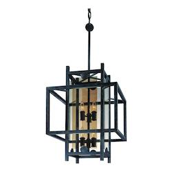 Troy Six Light French Iron Open Frame Foyer Hall Fixture