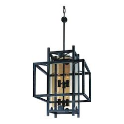 Troy Eight Light French Iron Framed Glass Foyer Hall Fixture