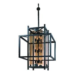 Troy Twelve Light French Iron Framed Glass Foyer Hall Fixture