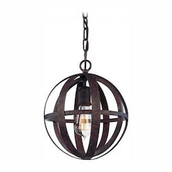 Troy One Light Weathered Iron Open Frame Foyer Hall Fixture