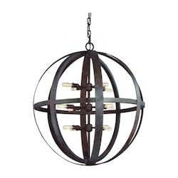 Troy Twelve Light Weathered Iron Open Frame Foyer Hall Fixture