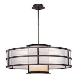 Troy Two Light Graphite Drum Shade Pendant