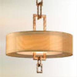 Troy Four Light Bronze Leaf Drum Shade Pendant