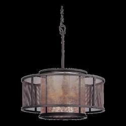 Troy Six Light Old Silver Drum Shade Pendant