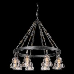 Troy Eight Light Old Silver Down Chandelier