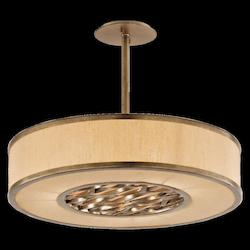 Troy Three Light Bronze Leaf Drum Shade Pendant