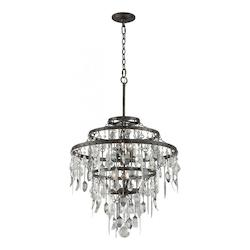 Troy Six Light Graphite Down Chandelier