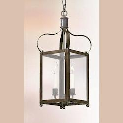 Troy Two Light Natural Rust Framed Glass Foyer Hall Fixture