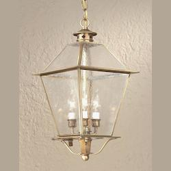 Troy Three Light Natural Aged Brass Hanging Lantern