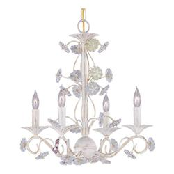 Crystorama Antique White  Four Light Mini Chandelier from the Retro Collection