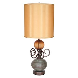 Van Teal Ring O Collection 1-Light 34In. Olivewood / Copper Table Lamps