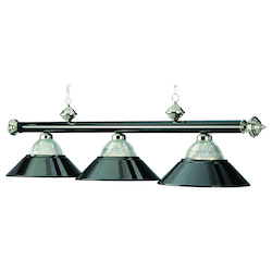 RAM Gameroom 3 Lt-54In. Billiard Light-Black Chrome & Chrome