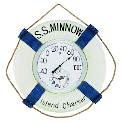 22In. W Ss Minow Thermometer & Clock