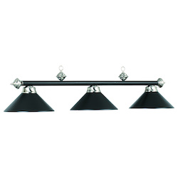 54In. 3Lt Billiard Light- Matte Blk/St