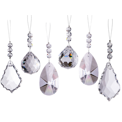 Sparkling Diamond Cut Crystal Ornaments  Set of 6 - Joshua Marshal 7016-001
