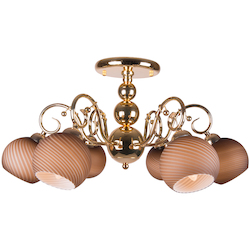 6 Light Semi Flush Mount Light in Gold Finish with Tea-Stained Glass Shades