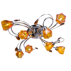 8 Light Flush Mount Light in Chrome with Amber Crystals and Glass Shades - 231695