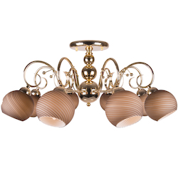 8 Light Semi Flush Mount Light in Gold Finish with Tea-Stained Glass Shades
