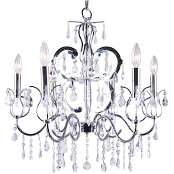 6 Light Crystal Chandelier Light in Chrome Finish with Clear European Crystals  - 231701