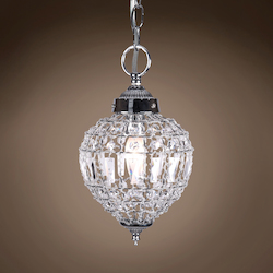 1 Light Beaded Crystal Mini Pendant Light in Chrome Finish with Clear Crystal - 231711