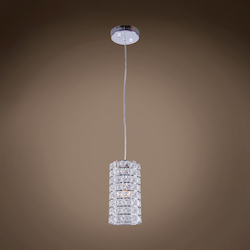 1 Light Round Shape Crystal Mini Pendant Light in Chrome Finish with Crystal - 231712